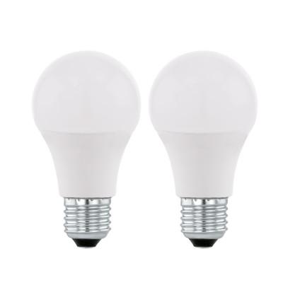 Eglo 11544 Лампа светодиодная A60, 2х5,5W (Е27), 4000K, 470lm, 2 шт. в комплектеСтандартный вид<br><br><br>Цветовая t, К: 4000<br>Тип лампы: LED<br>Тип цоколя: E27<br>MAX мощность ламп, Вт: 5.5<br>Диаметр, мм мм: 60<br>Высота, мм: 112