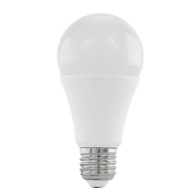Eglo 11545 Лампа светодиодная диммируемая A60, 12W (Е27), 3000K, 1055lmСтандартный вид<br><br><br>Цветовая t, К: 3000<br>Тип лампы: LED<br>Тип цоколя: E27<br>Диаметр, мм мм: 60<br>Высота, мм: 118<br>MAX мощность ламп, Вт: 12