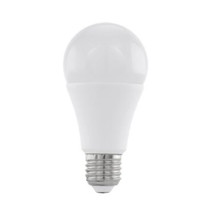 Eglo 11546 Лампа светодиодная диммируемая A60, 12W (Е27), 4000K, 1055lmСветодиодные лампы LED с цоколем E27<br><br><br>Цветовая t, К: CW - холодный белый 4000 К<br>Тип лампы: LED<br>Тип цоколя: E27<br>Диаметр, мм мм: 60<br>Высота, мм: 118<br>MAX мощность ламп, Вт: 12