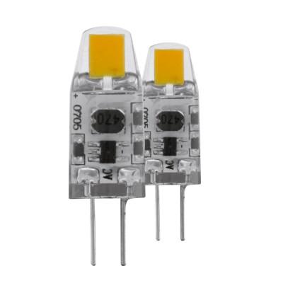 EGLO ИС 11551 Лампа светодиодная диммируемая, 2х1,2W(G4), 2700K, 100lm, 2 шт. в комплектеСветодиодные лампы G4<br><br><br>Цветовая t, К: WW - теплый белый 2700-3000 К<br>Тип лампы: LED<br>Тип цоколя: G4<br>MAX мощность ламп, Вт: 1