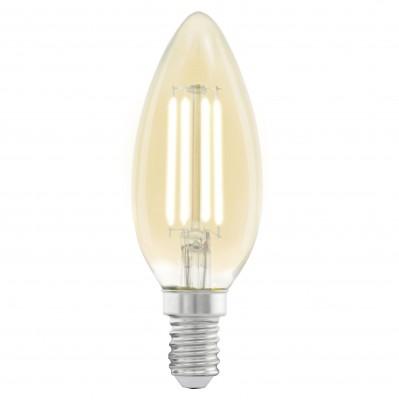 Eglo 11557 Лампа светодиодная филаментная C37 (янтарь)Filament LED<br>В интернет-магазине «Светодом» можно купить не только люстры и светильники, но и лампочки. В нашем каталоге представлены светодиодные, галогенные, энергосберегающие модели и лампы накаливания. В ассортименте имеются изделия разной мощности, поэтому у нас Вы сможете приобрести все необходимое для освещения.   Лампа Eglo 11557 филаментная C37 (янтарь) обеспечит отличное качество освещения. При покупке ознакомьтесь с параметрами в разделе «Характеристики», чтобы не ошибиться в выборе. Там же указано, для каких осветительных приборов Вы можете использовать лампу Eglo 11557 филаментная C37 (янтарь)Eglo 11557 филаментная C37 (янтарь).   Для оформления покупки воспользуйтесь «Корзиной». При наличии вопросов Вы можете позвонить нашим менеджерам по одному из контактных номеров. Мы доставляем заказы в Москву, Екатеринбург и другие города России.<br><br>Цветовая t, К: WW - теплый белый 2700-3000 К<br>Тип лампы: LED - светодиодная<br>Тип цоколя: E14<br>MAX мощность ламп, Вт: 4<br>Диаметр, мм мм: 35<br>Длина, мм: 98
