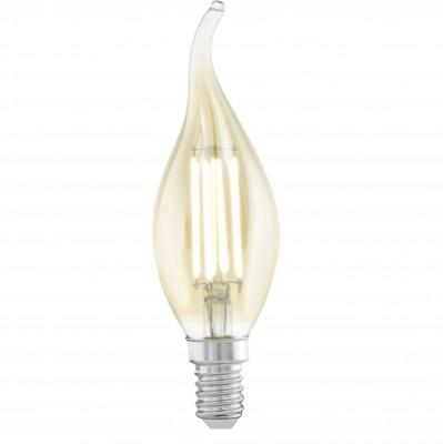 Eglo 11559 Лампа светодиодная филаментная CF37В виде свечи<br><br><br>Тип товара: Лампа светодиодная филаментная CF37<br>Цветовая t, К: WW - теплый белый 2700-3000 К<br>Тип лампы: LED - светодиодная<br>Тип цоколя: E14<br>MAX мощность ламп, Вт: 4<br>Диаметр, мм мм: 35<br>Длина, мм: 121