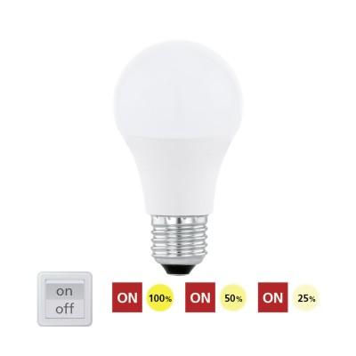 Eglo 11561 Лампа светодиодная 3 шага диммирования A60, 10W (E27), 3000K, 806lmСтандартный вид<br><br><br>Цветовая t, К: 3000<br>Тип лампы: LED<br>Тип цоколя: E27<br>Диаметр, мм мм: 60<br>Высота, мм: 120<br>MAX мощность ламп, Вт: 10