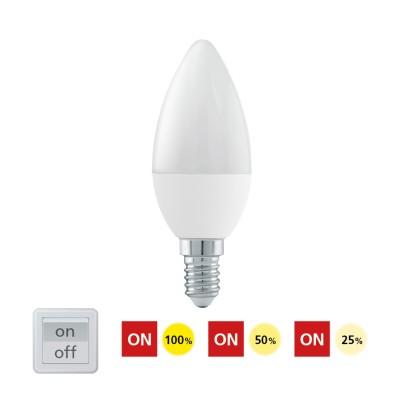 Eglo 11581 Лампа светодиодная 3 шага диммирования C37, 6W (E14), 3000K, 470lmВ виде свечи<br><br><br>Цветовая t, К: 3000<br>Тип лампы: LED<br>Тип цоколя: E14<br>MAX мощность ламп, Вт: 6<br>Диаметр, мм мм: 37<br>Высота, мм: 100