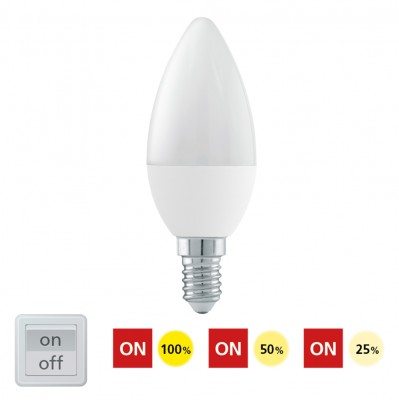 Eglo 11582 Лампа светодиодная 3 шага диммирования C37, 6W (E14), 4000K, 470lmВ виде свечи<br><br><br>Цветовая t, К: CW - холодный белый 4000 К<br>Тип лампы: LED<br>Тип цоколя: E14<br>MAX мощность ламп, Вт: 6