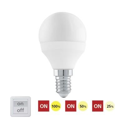 Eglo 11584 Лампа светодиодная 3 шага диммирования P45, 6W (E14), 4000K, 470lmСтандартный вид<br><br><br>Цветовая t, К: 4000<br>Тип лампы: LED<br>Тип цоколя: E14<br>MAX мощность ламп, Вт: 6<br>Диаметр, мм мм: 45<br>Высота, мм: 80