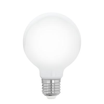 Eglo 11598 Лампа светодиодная филаментная Милки G80, 8W (E27), 2700K, 806lm, опал. стеклоВ виде шара<br><br><br>Цветовая t, К: 2700<br>Тип лампы: LED<br>Тип цоколя: E27<br>Диаметр, мм мм: 80<br>Высота, мм: 120<br>MAX мощность ламп, Вт: 8
