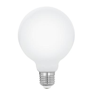 Eglo 11599 Лампа светодиодная филаментная МилкиG95, 5W (E27), 2700K, 470lm, опал. стеклоВ виде шара<br><br><br>Цветовая t, К: 2700<br>Тип лампы: LED<br>Тип цоколя: E27<br>Диаметр, мм мм: 95<br>Высота, мм: 137<br>MAX мощность ламп, Вт: 5