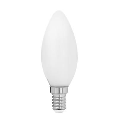 Eglo 11602 Лампа светодиодная филаментная Милки свеча, 4W (E14), 2700K, 470lm, опал. стеклоВ виде свечи<br><br><br>Цветовая t, К: 2700<br>Тип лампы: LED<br>Тип цоколя: E14<br>MAX мощность ламп, Вт: 4<br>Диаметр, мм мм: 35<br>Высота, мм: 97
