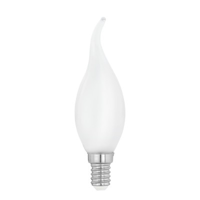 Eglo 11603 Лампа светодиодная филаментная Милки cвеча на ветру, 4W (E14), 2700K, 470lm, опал.В виде свечи<br><br><br>Цветовая t, К: WW - теплый белый 2700-3000 К<br>Тип лампы: LED<br>Тип цоколя: E14<br>Диаметр, мм мм: 35<br>Высота, мм: 120<br>MAX мощность ламп, Вт: 4