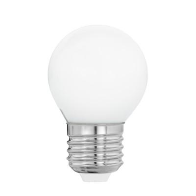 Eglo 11605 Лампа светодиодная филаментная Милки G45, 4W(E27), 2700K, 470lm, опал. стеклоВ виде шарика<br><br><br>Цветовая t, К: 2700<br>Тип лампы: LED<br>Тип цоколя: E27<br>MAX мощность ламп, Вт: 4<br>Диаметр, мм мм: 45<br>Высота, мм: 78