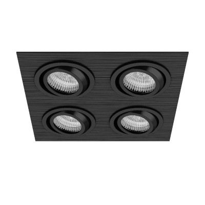 Lightstar SINGO 11624 СветильникКарданные<br><br><br>Тип лампы: галогенная/LED<br>Тип цоколя: MR16<br>Цвет арматуры: черный<br>Количество ламп: 4<br>Ширина, мм: 190<br>Длина, мм: 190<br>Высота, мм: 5<br>MAX мощность ламп, Вт: 50