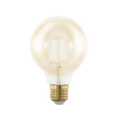 EGLO ИС 11692 Лампа светодиодная филаментная диммируемая G80, 4W (E27), 1700K, 320lm, золотаяСтандартный вид<br><br><br>Цветовая t, К: 1700<br>Тип лампы: Накаливания / энергосбережения / светодиодная<br>Тип цоколя: E27<br>Диаметр, мм мм: 80<br>Высота, мм: 122<br>MAX мощность ламп, Вт: 4