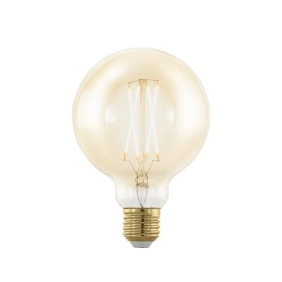 EGLO ИС 11693 Лампа светодиодная филаментная диммируемая G95, 4W (E27), 1700K, 320lm, золотаяВ виде шара<br><br><br>Цветовая t, К: 1700<br>Тип лампы: LED<br>Тип цоколя: E27<br>MAX мощность ламп, Вт: 4<br>Диаметр, мм мм: 95<br>Высота, мм: 140