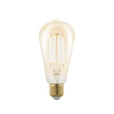 Купить EGLO ИС 11696 Лампа светодиодная филаментная диммируемая ST64, 4W (E27), 1700K, 320lm, золотая, Китай