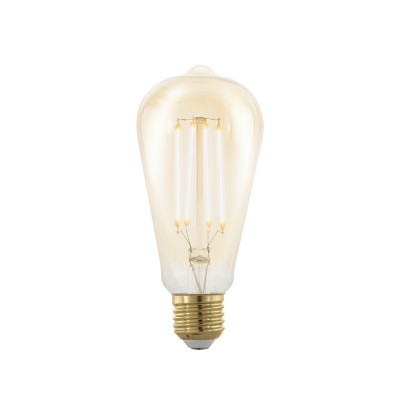 EGLO ИС 11696 Лампа светодиодная филаментная диммируемая ST64, 4W (E27), 1700K, 320lm, золотаяСтандартный вид<br><br><br>Цветовая t, К: 1700<br>Тип лампы: LED<br>Тип цоколя: E27<br>MAX мощность ламп, Вт: 4<br>Диаметр, мм мм: 64<br>Высота, мм: 143