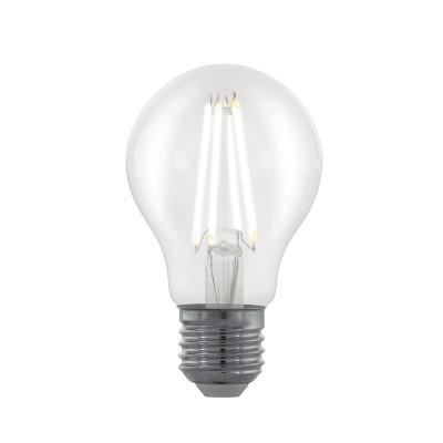 EGLO ИС 11701 Лампа светодиодная филаментная диммируемая A60, 6W (E27), 2700K, 806lm, прозрачныйСтандартный вид<br><br><br>Цветовая t, К: 2700<br>Тип лампы: LED<br>Тип цоколя: E27<br>Диаметр, мм мм: 60<br>Высота, мм: 100<br>MAX мощность ламп, Вт: 6