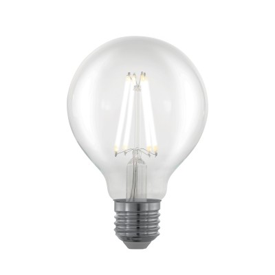 EGLO ИС 11702 Лампа светодиодная филаментная диммируемая G80, 6W (E27), 2700K, 806lm, прозрачныйСтандартный вид<br><br><br>Цветовая t, К: 2700<br>Тип лампы: LED<br>Тип цоколя: E27<br>Диаметр, мм мм: 80<br>Высота, мм: 120<br>MAX мощность ламп, Вт: 6