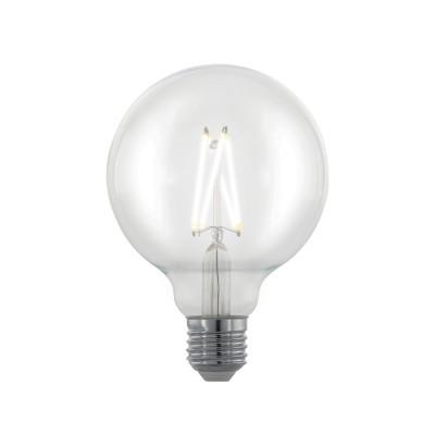 EGLO ИС 11703 Лампа светодиодная филаментная диммируемая G95, 6W (E27), 2700K, 806lm, прозрачныйСтандартный вид<br><br><br>Цветовая t, К: 2700<br>Тип лампы: LED<br>Тип цоколя: E27<br>Диаметр, мм мм: 95<br>Высота, мм: 135<br>MAX мощность ламп, Вт: 6