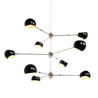 1182/165/9C Colosseo LUX Светильник подвесной MolecolaПодвесные<br>Диаметр: 165 см<br>Материал: Металл<br>Тип ламп: E14<br>Количество: 9<br><br>S освещ. до, м2: 27<br>Тип лампы: Накаливания / энергосбережения / светодиодная<br>Тип цоколя: E14<br>Количество ламп: 9<br>MAX мощность ламп, Вт: 60<br>Диаметр, мм мм: 1650<br>Цвет арматуры: черный