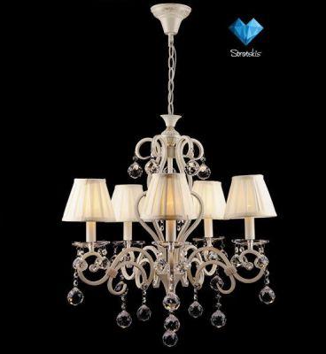 Люстра с абажурами Евросвет 12075/5Подвесные<br>Подвесная люстра с хрусталем и абажурами<br><br>Установка на натяжной потолок: Да<br>S освещ. до, м2: 20<br>Крепление: Крюк<br>Тип лампы: накаливания / энергосбережения / LED-светодиодная<br>Тип цоколя: E14<br>Количество ламп: 5<br>MAX мощность ламп, Вт: 40<br>Диаметр, мм мм: 550<br>Высота, мм: 1000<br>Цвет арматуры: белый