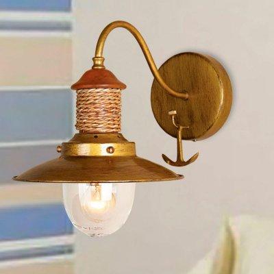 Светильник бра в морском стиле Favourite 1216-1WМорской стиль<br><br><br>S освещ. до, м2: 2<br>Тип лампы: накаливания / энергосбережения / LED-светодиодная<br>Тип цоколя: E14<br>Количество ламп: 1<br>Ширина, мм: 220<br>MAX мощность ламп, Вт: 40<br>Диаметр, мм мм: 320<br>Размеры: W220*D320*H280<br>Расстояние от стены, мм: 320<br>Высота, мм: 280<br>Цвет арматуры: золотой