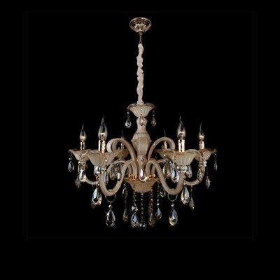Люстра Bogateapos;s 124/6 StrotskisПодвесные<br><br><br>Установка на натяжной потолок: Да<br>S освещ. до, м2: 24<br>Крепление: Крюк<br>Тип лампы: накаливания / энергосбережения / LED-светодиодная<br>Тип цоколя: E14<br>Количество ламп: 6<br>MAX мощность ламп, Вт: 60<br>Диаметр, мм мм: 750<br>Высота, мм: 980<br>Цвет арматуры: золотой