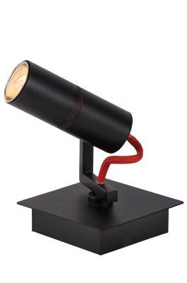 спот Lucide 12929/71/30 TITTOснятые с производства светильники<br><br><br>Тип лампы: галогенная<br>Тип цоколя: GU10<br>Цвет арматуры: черный, провод красный<br>Количество ламп: 1<br>Ширина, мм: 100<br>Длина, мм: 100<br>Высота, мм: 120<br>MAX мощность ламп, Вт: 7