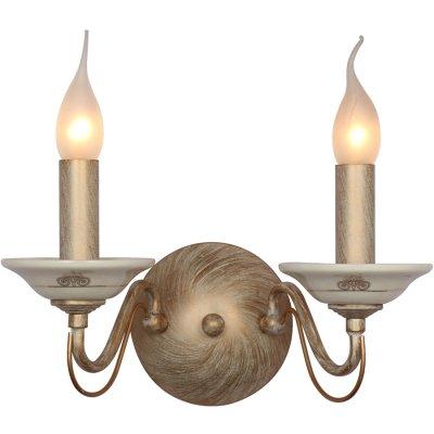 Светильник бра Favourite 1389-2WКлассические<br><br><br>Тип лампы: накаливания / энергосбережения / LED-светодиодная<br>Ширина, мм: 310<br>Диаметр, мм мм: 180<br>Размеры: W310*H260*D180<br>Высота, мм: 260<br>Цвет арматуры: белый с золотистой патиной