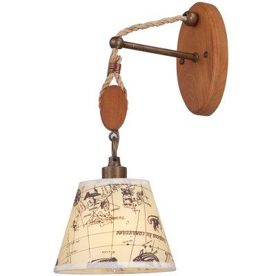 Светильник Favourite 1393-1wМорской стиль<br><br><br>S освещ. до, м2: 2<br>Тип лампы: накаливания / энергосбережения / LED-светодиодная<br>Тип цоколя: E14<br>Количество ламп: 1<br>Ширина, мм: 160<br>MAX мощность ламп, Вт: 40<br>Диаметр, мм мм: 240<br>Размеры: W160*H380*D240<br>Расстояние от стены, мм: 240<br>Высота, мм: 380<br>Цвет арматуры: коричневый