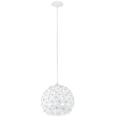 Eglo HANIFA 92283 Светильник подвеснойОдиночные<br>Австрийское качество модели светильника Eglo 92283 не оставит равнодушным каждого купившего! Стальной корпус с защитным покрытием белого цвета, алюминевый ажурный орнамент в виде цветков со вставкми хрусталя, Класс изоляции 2 (двойная изоляция), IP 20, освещенность 806 lm ,Н=1100D=300,1X60W,E27.<br><br>S освещ. до, м2: 3<br>Крепление: потолочное<br>Тип лампы: накаливания / энергосбережения / LED-светодиодная<br>Тип цоколя: E27<br>Количество ламп: 1<br>MAX мощность ламп, Вт: 60<br>Диаметр, мм мм: 300<br>Размеры основания, мм: 0<br>Высота, мм: 1100<br>Оттенок (цвет): белый, прозрачный<br>Цвет арматуры: белый<br>Общая мощность, Вт: 1X60W