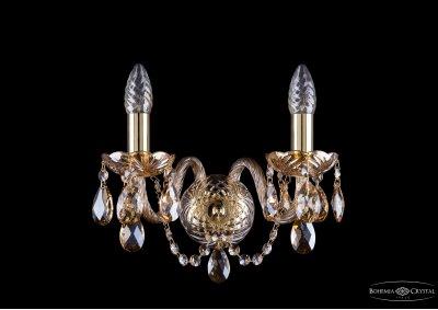 Светильник настенный бра Bohemia Ivele 1400/2/G/M721Хрустальные<br><br><br>Тип лампы: накаливания / энергосбережения / LED-светодиодная<br>Тип цоколя: E14<br>Количество ламп: 2<br>MAX мощность ламп, Вт: 60<br>Размеры: Диаметр - 29*22см<br>Цвет арматуры: золотой