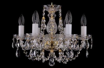 Люстра хрустальная Bohemia Ivele 1406/6/141/GПодвесные<br><br><br>Установка на натяжной потолок: Да<br>S освещ. до, м2: 16<br>Крепление: Крюк<br>Тип товара: Люстра хрустальная<br>Тип лампы: накаливания / энергосбережения / LED-светодиодная<br>Тип цоколя: E14<br>Количество ламп: 6<br>MAX мощность ламп, Вт: 60<br>Диаметр, мм мм: 440<br>Размеры: Диаметр - 44см<br>Высота, мм: 340<br>Цвет арматуры: золотой