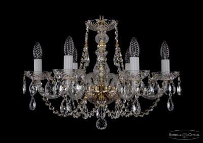 Люстра хрустальная Bohemia Ivele 1406/6/195/GПодвесные<br><br><br>Установка на натяжной потолок: Да<br>S освещ. до, м2: 16<br>Крепление: Крюк<br>Тип товара: Люстра хрустальная<br>Тип лампы: накаливания / энергосбережения / LED-светодиодная<br>Тип цоколя: E14<br>Количество ламп: 6<br>MAX мощность ламп, Вт: 60<br>Диаметр, мм мм: 580<br>Размеры: Диаметр - 58см<br>Высота, мм: 410<br>Цвет арматуры: золотой