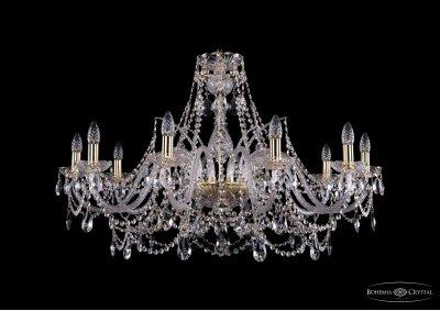 Люстра хрустальная Bohemia Ivele 1411/10/360-66/GПодвесные<br><br><br>S освещ. до, м2: 30<br>Тип товара: Люстра хрустальная<br>Тип лампы: накаливания / энергосбережения / LED-светодиодная<br>Тип цоколя: E14<br>Количество ламп: 10<br>MAX мощность ламп, Вт: 60<br>Размеры: Диаметр - 100см<br>Цвет арматуры: золотой