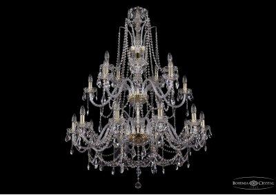 Люстра хрустальная большая Bohemia Ivele 1411/20/360-115/2d/GПодвесные<br><br><br>S освещ. до, м2: 60<br>Тип товара: Большая хрустальная люстра<br>Тип лампы: накаливания / энергосбережения / LED-светодиодная<br>Тип цоколя: E14<br>Количество ламп: 20<br>MAX мощность ламп, Вт: 60<br>Размеры: Диаметр - 104см<br>Цвет арматуры: золотой