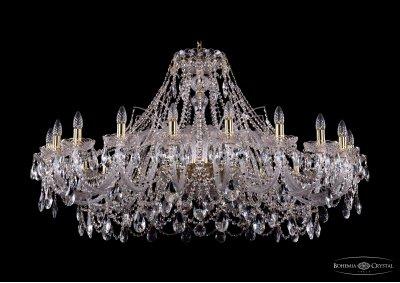 Люстра хрустальная большая Bohemia Ivele 1411/20/460-80/GПодвесные<br><br><br>S освещ. до, м2: 60<br>Тип товара: Большая хрустальная люстра<br>Тип лампы: накаливания / энергосбережения / LED-светодиодная<br>Тип цоколя: E14<br>Количество ламп: 20<br>MAX мощность ламп, Вт: 60<br>Размеры: Диаметр - 134см<br>Цвет арматуры: Золото