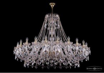 Люстра хрустальная большая Bohemia Ivele 1411/24/530-115/GПодвесные<br><br><br>S освещ. до, м2: 72<br>Тип товара: Большая хрустальная люстра<br>Тип лампы: накаливания / энергосбережения / LED-светодиодная<br>Тип цоколя: E14<br>Количество ламп: 24<br>MAX мощность ламп, Вт: 60<br>Размеры: Диаметр - 150см<br>Цвет арматуры: Золото