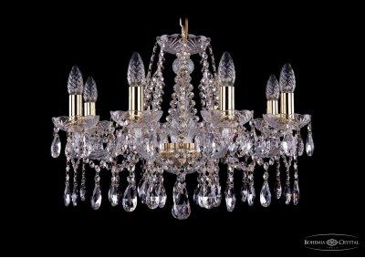 Люстра хрустальная Bohemia Ivele 1413/8/200/GПодвесные<br><br><br>S освещ. до, м2: 24<br>Тип товара: Люстра хрустальная<br>Тип лампы: накаливания / энергосбережения / LED-светодиодная<br>Тип цоколя: E14<br>Количество ламп: 8<br>MAX мощность ламп, Вт: 60<br>Размеры: Диаметр - 57см<br>Цвет арматуры: Золото