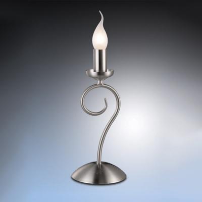 Настольная лампа Odeon light 1425/1T никель SandiaКлассические<br>Элегантная и изящная, эта настольная лампа привлекает к себе внимание безупречным и необычным видом.  Плафон в виде горящей свечи с белым «пламенем» создает мягкое и комфортное для зрения освещение. Отсутствие креплений позволяет установить ее в считанные мгновения, а при необходимости, перенести в любое другое место. Стильная конструкция и реалистичная форма, делают лампу отличным приобретением для любого интерьера!<br><br>S освещ. до, м2: 4<br>Тип лампы: накаливания / энергосбережения / LED-светодиодная<br>Тип цоколя: E14<br>Количество ламп: 1<br>Ширина, мм: 150<br>MAX мощность ламп, Вт: 60<br>Высота, мм: 300<br>Цвет арматуры: серый