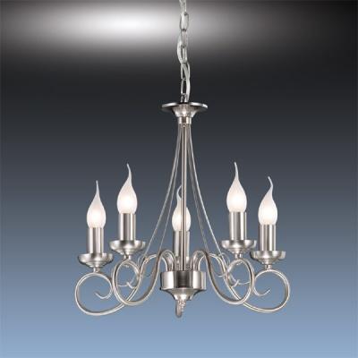 Люстра Odeon Light 1425/5 никель SandiaПодвесные<br>Итальянская люстра ODEON LIGHT 1425/5 бронза Sandia станет желанным приобретением для ценителей изысканного и оригинального дизайна в интерьере! Она стилизована под подсвечник с пятью плафонами-свечами. «Холодная» цветовая гамма позволяет ей прекрасно подойти к комнате в таких же тонах, а стильный дизайн делает ее современной и броской. Площадь освещения достигает двадцати квадратных метров, поэтому люстра великолепно впишется в просторное помещение с высоким потолком. Благодаря своей необычной форме, она всегда будет привлекать к себе внимание!<br><br>Установка на натяжной потолок: Да<br>S освещ. до, м2: 20<br>Крепление: Крюк<br>Тип лампы: накаливания / энергосбережения / LED-светодиодная<br>Тип цоколя: E14<br>Количество ламп: 5<br>Ширина, мм: 390<br>MAX мощность ламп, Вт: 60<br>Высота, мм: 390<br>Цвет арматуры: серый
