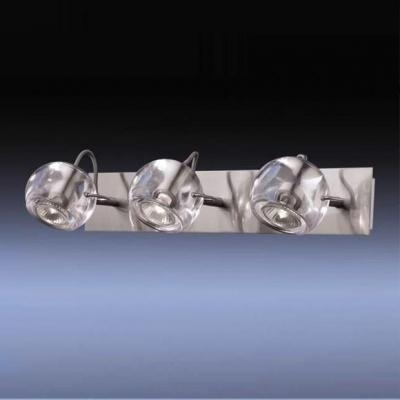 Светильник настенный Odeon light 1429/3W матовый никель BollaТройные<br><br><br>S освещ. до, м2: 10<br>Тип товара: Светильник поворотный спот<br>Скидка, %: 41<br>Тип лампы: галогенная / LED-светодиодная<br>Тип цоколя: GU10<br>Количество ламп: 3<br>Ширина, мм: 470<br>MAX мощность ламп, Вт: 50<br>Высота, мм: 100<br>Цвет арматуры: серый
