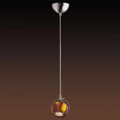Светильник Odeon light 1430/1A никель BollaОдиночные<br><br><br>S освещ. до, м2: 3<br>Тип товара: Светильник подвесной<br>Тип лампы: галогенная / LED-светодиодная<br>Тип цоколя: GU10<br>Количество ламп: 1<br>Ширина, мм: 100<br>MAX мощность ламп, Вт: 50<br>Длина, мм: 120<br>Высота, мм: 1900<br>Цвет арматуры: серый