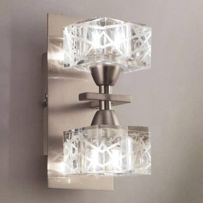 Светильник Mantra 1445 ZENхрустальные бра<br><br><br>S освещ. до, м2: 5<br>Тип лампы: галогенная / LED-светодиодная<br>Тип цоколя: G9<br>Цвет арматуры: серебристый никель<br>Количество ламп: 2<br>Ширина, мм: 113<br>Размеры: W 90 H 200 Выступ 113<br>Длина, мм: 90<br>Высота, мм: 200<br>MAX мощность ламп, Вт: 40