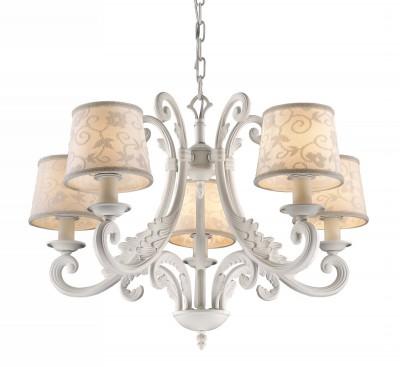 Люстра с абажурами Favourite 1471-5PПодвесные<br><br><br>Установка на натяжной потолок: Да<br>S освещ. до, м2: 10<br>Крепление: Крюк<br>Тип товара: Люстра<br>Тип лампы: накал-я - энергосбер-я<br>Тип цоколя: E14<br>Количество ламп: 5<br>MAX мощность ламп, Вт: 40<br>Диаметр, мм мм: 580<br>Размеры: D580*H450/1450<br>Высота, мм: 450 - 1450<br>Цвет арматуры: белый