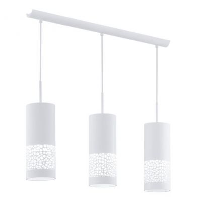 Eglo CARMELIA 91415 Светильник подвеснойТройные<br>Австрийское качество модели светильника Eglo 91415 не оставит равнодушным каждого купившего! Стальной корпус покрытый дюропластом, Класс изоляции 2 (двойная изоляция), IP 20, освещенность 2418 lm ,L=710B=110Н=1100,3X60W,E27.<br><br>Установка на натяжной потолок: Да<br>S освещ. до, м2: 12<br>Крепление: Планка<br>Тип цоколя: E27<br>Количество ламп: 3<br>Ширина, мм: 110<br>MAX мощность ламп, Вт: 2<br>Размеры основания, мм: 0<br>Длина, мм: 710<br>Высота, мм: 1100<br>Цвет арматуры: белый<br>Общая мощность, Вт: 3X60W