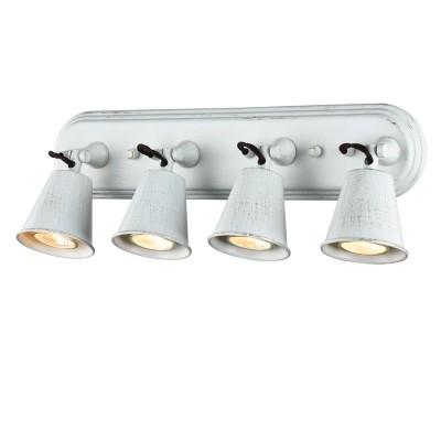 Светильник настенный бра Favourite 1583-4W GlockeС 4 лампами<br><br><br>Крепление: планка<br>Тип товара: светильник настенный бра<br>Тип лампы: галогенная/LED<br>Тип цоколя: GU10<br>Количество ламп: 4<br>MAX мощность ламп, Вт: 35W<br>Размеры: L575*W85*H157<br>Цвет арматуры: белый с золотистой патиной