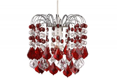 Светильник Lamplandia 159-1 Marina redОдиночные<br>Современная модель, напоминающая фонтан из прозрачных и  рубинового цвета подвесов. Украсит любую комнату вашего дома.<br><br>S освещ. до, м2: 3<br>Крепление: потолочный<br>Тип лампы: накаливания / энергосбережения / LED-светодиодная<br>Тип цоколя: E14<br>Количество ламп: 1<br>MAX мощность ламп, Вт: 60<br>Диаметр, мм мм: 260<br>Высота, мм: 280 - 1280<br>Цвет арматуры: серый