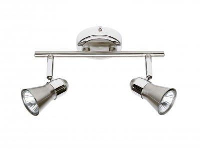 Светильник Brilliant G15913/77 JuppДвойные<br>Зачастую мы ищем идеальное освещение для своего дома и уделяем этому достаточно много времени. Так, например, если нам нужен светильник с количеством ламп - 2 и цвет плафонов должен быть - хром, а материал плафонов только металл! То нам, как вариант, подойдет модель - система спотов Brilliant G15913/77.<br><br>S освещ. до, м2: 6<br>Тип лампы: галогенная / LED-светодиодная<br>Тип цоколя: GU10<br>Цвет арматуры: серебристый<br>Количество ламп: 2<br>Ширина, мм: 253<br>Диаметр, мм мм: 57<br>Высота, мм: 160<br>MAX мощность ламп, Вт: 50