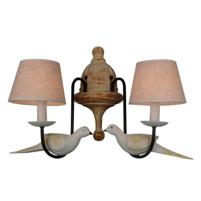 Светильник настенный бра Favourite 1594-2W BirdsФлористика<br><br><br>Тип лампы: Накаливания / энергосбережения / светодиодная<br>Тип цоколя: E14<br>Количество ламп: 2<br>MAX мощность ламп, Вт: 40<br>Размеры: W420*D280*H440<br>Цвет арматуры: черный
